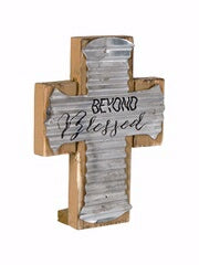 Cross-Mini Pedestal-Blessed-Wood/Corrugated Metal
