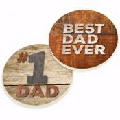 Car Coaster Set-#1 Dad/Best Dad Ever (Set Of 2)