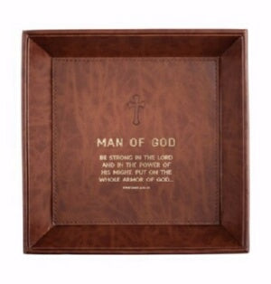 Tabletop Tray-Man Of God (Eph 6:10) (8.5 x 8.5)