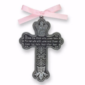 Crib Cross-Bless This Child w/Pink Ribbon-Pewter (