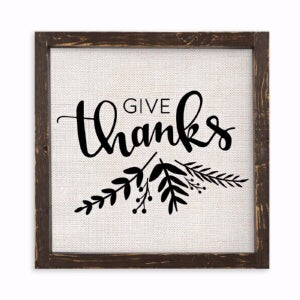 Vintage Framed Linen Sign-Give Thanks (12 x 12 Bro