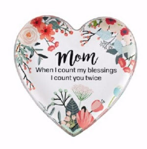 "Paperweight-Glass Heart-Mom-Gift Boxed (4"" x 3.75"""