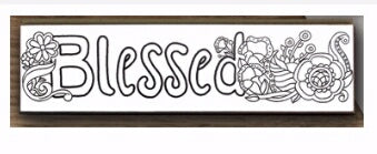 Wall Art-Color Your Family's Story-Blessed (13 x 3