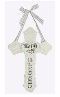 Wall Cross-Grateful Thankful Blessed w/Bow Hanger
