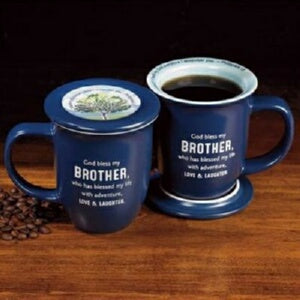 Mug-God Bless My Brother w/Coaster-Blue w/White In