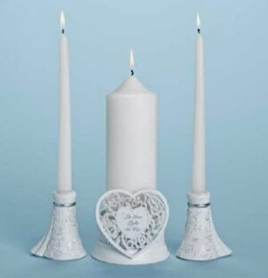 "Unity Candle Holder Set-Language Of Love (4.5""H)(3"