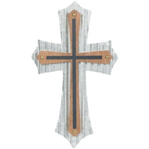 "Wall Cross-Double Center-Tin/Wood (16"")"