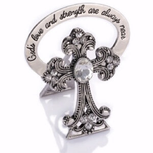 "Bedside Cross-Trust In God w/13 Crystals (2.5"") (C"