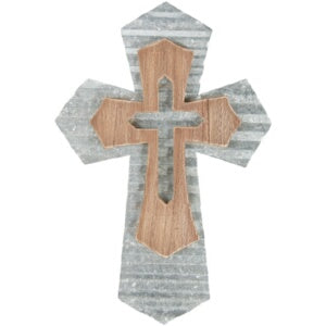 "Wall Cross-Pointed-Tin/Wood (14"")"
