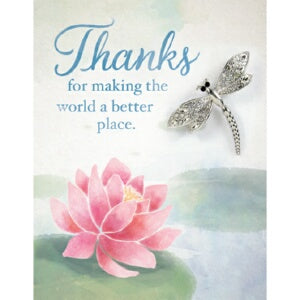 Brooch Greeting Card-Thanks w/Dragonfly Pin (Card
