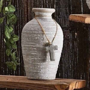 "Vase-White Textured w/Cross (7.75"")"