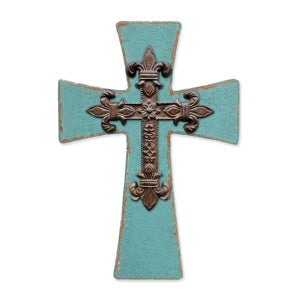 Cross-Where The Heart Is-Teal & Iron w/Stand (9.75