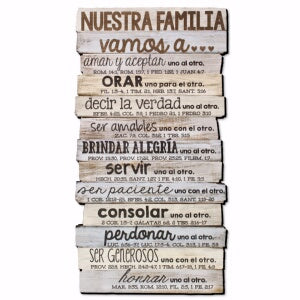 Wall Décor-Stacked Wood: Our Family (Nuestra-Spanish