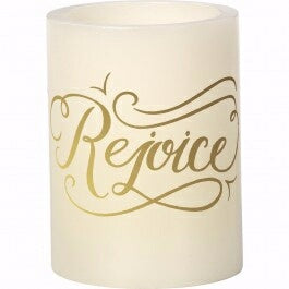 "Flameless LED Pillar-Rejoice (4"") (Jul) Candle"