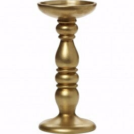 "Candle Holder For Pillar Candle w/Gold Finish (8"")"