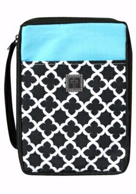 Bible Cover-Black/Turquoise-X Large