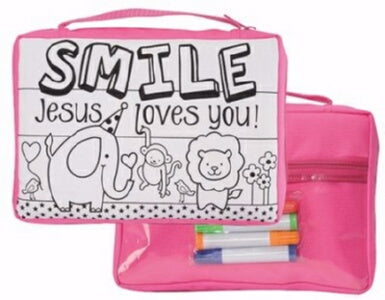 Bible Cover-Youth-Smile Jesus Loves You-Colorwash
