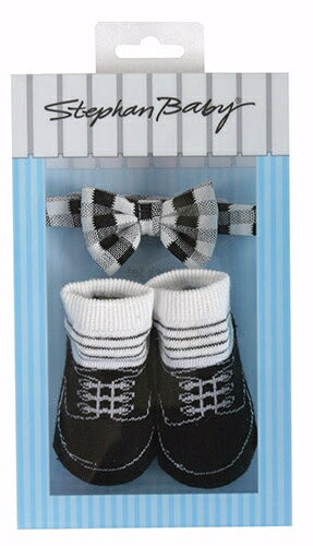 Bowtie & Sock Set-Black & White (3-12 Mo)