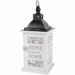 Lantern-Home Sweet Home w/LED Candle & Timer (13.7