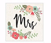 "Square House Coaster-Floral Mrs. (4"")"