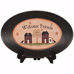 Plate-Primitives-Welcome Friends-Oval w/Easel (9 5