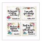 Square House Coasters-Religious Floral (Set Of 4)