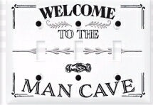 Light Switch Cover-Triple-Welcome To The Man Cave