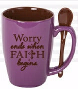 Mug-Spoon Mug-Worry Ends When Faith Begins (15 Oz)