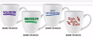 Mug Set-White Bistro-Whatever/Seriously/Not Intere