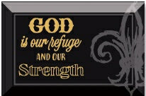 Glass Plaque-God Is Our Refuge (6 x 4)