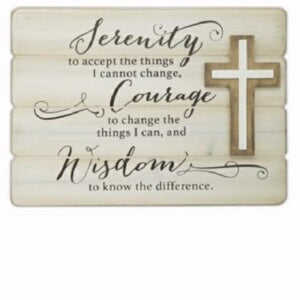 Wall Plaque-Serenity-Plank w/Cross (10 x 14)
