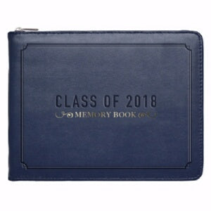 "Guest Book-Class Of 2018-Navy LuxLeather (6.5"" x 5"