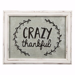 Embossed Metal Sign-Crazy Thankful (11 x 14)