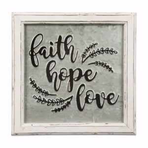 Embossed Metal Sign-Faith Hope Love (12 x 12)