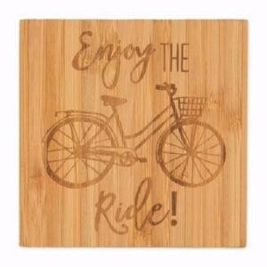 Bamboo Coaster Set-Bicycle (Set Of 4)
