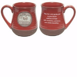 Mug-Pottery-Teacher Prayer-Red