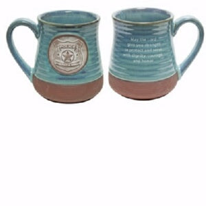 Mug-Pottery-Police Prayer-Blue