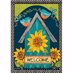 "Flag-Garden-Blue Birds Welcome Birdhouse (12.5"" x"