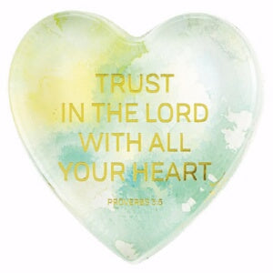 Tabletop Glass Heart Paperweight-Trust The Lord (P
