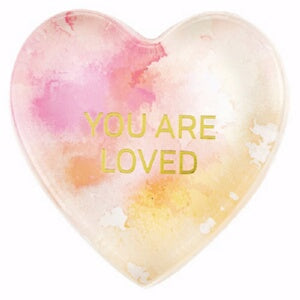 Tabletop Glass Heart Paperweight-You Are Loved (4""
