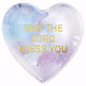 Tabletop Glass Heart Paperweight-May The Lord Bles
