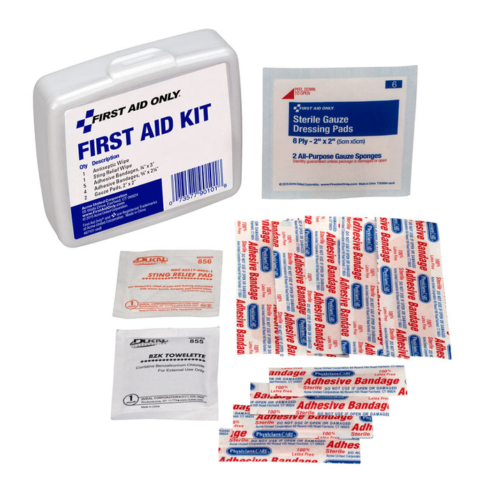 (6 Ea) Personal First Aid Kit 13pc Plastic Case