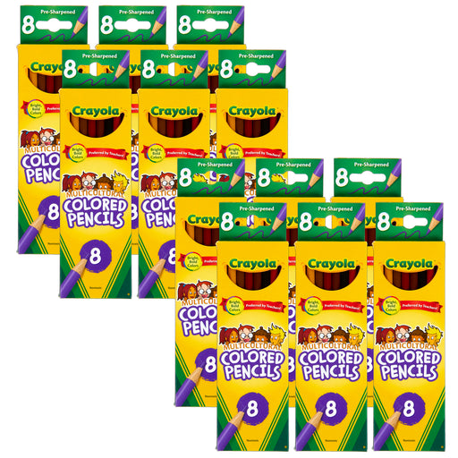 (12 Bx) Crayola Multicultural 8ct Per Bx Colored Pencils