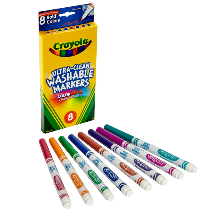 (6 Bx) Washable Markers 8ct Per Bx Bold Colors Fine Tip