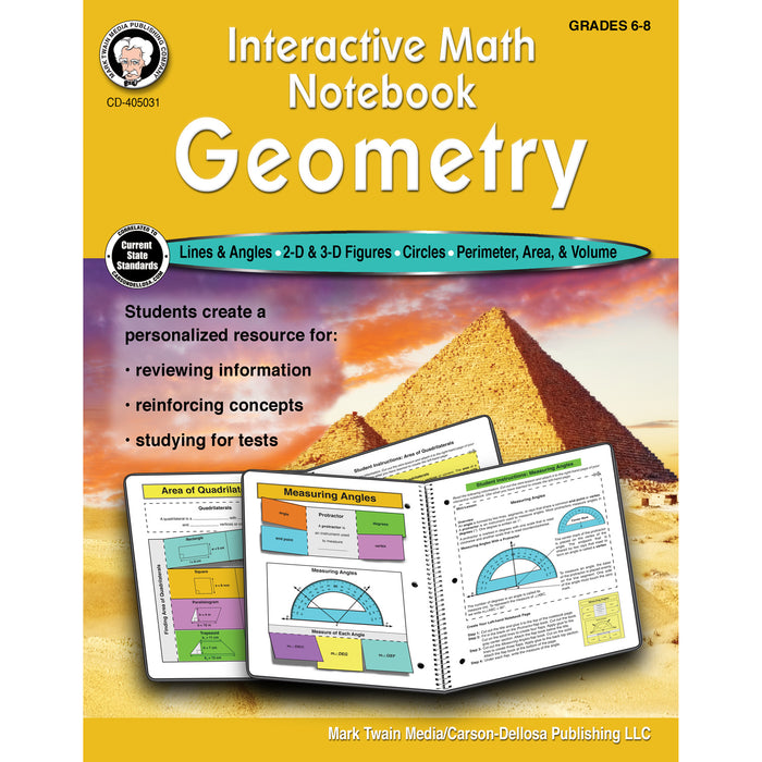 (3 Ea) Math Notebook Geometry Workbook Interactive
