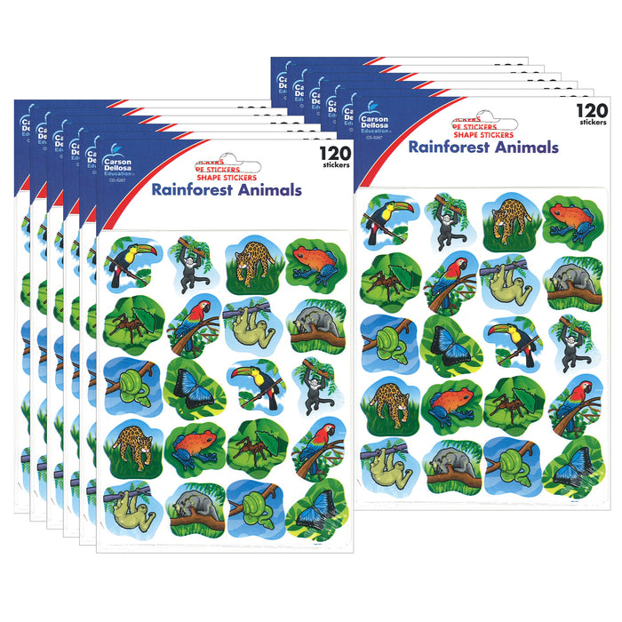 (12 Pk) Rainforest Animals Stickers 120 Per Pk