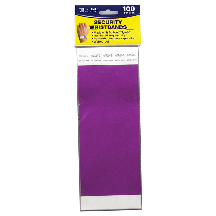 (2 Pk) C Line Dupont Tyvek Purple Security Wristbands 100 Per Pk