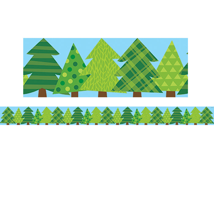 (6 Pk) Pine Trees Border No 3 Woodland Friends