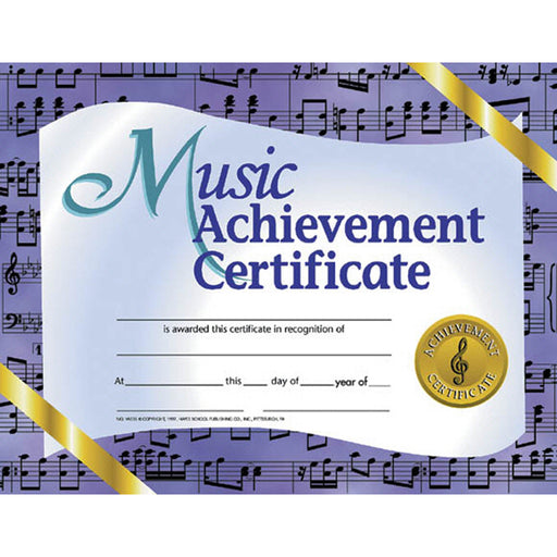 Music Achievement 30-pk 8.5 X 11 Certificates