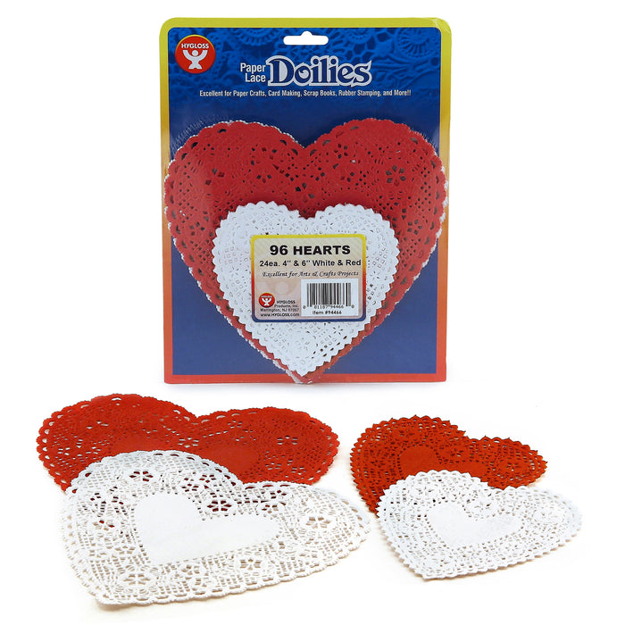 (3 Pk) Doilies White & Red Hearts 24 Each 4in 6in